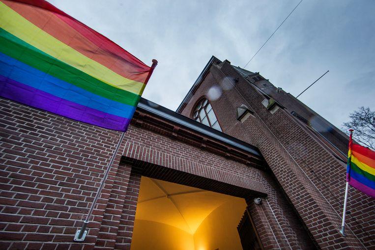 Steunbetuiging vanuit de Oranjekerken Stopera, Amsterdam. Beeld Jean-Pierre Jans