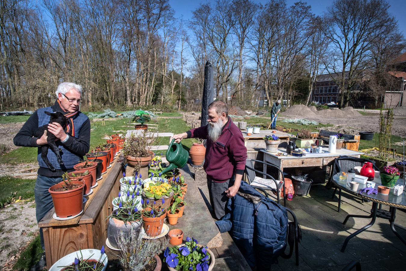 De RIBW-ploeg die de tuin van voormalig klooster Sancta Maria in Nijmegen-Hees bijhoudt, is door de corona veel kleiner dan anders. V.l.n.r.: Begeleider Tom Samson (met lammetje) en de cliënten Harrie (met gieter) en Thijs(met schoffel).