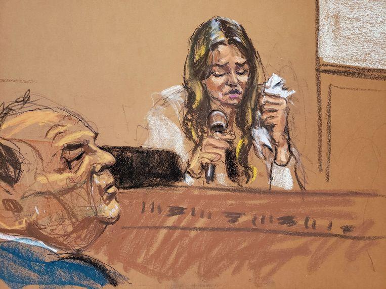Rechtbankschets: Mimi Haleyi legde in tranen haar getuigenis af. Vooraan: de beklaagde Harvey Weinstein.