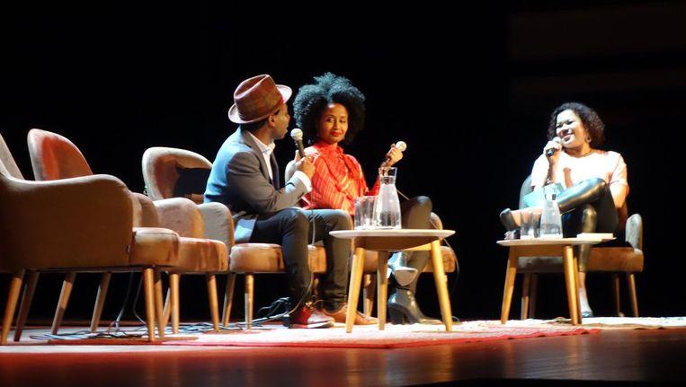 Vamba Sherif, Ebissé Rouw en Anousha Nzume bij de presentatie van 'Zwart' in Tivoli/Vredenburg, Utrecht 1 februari 2018. Beeld wb