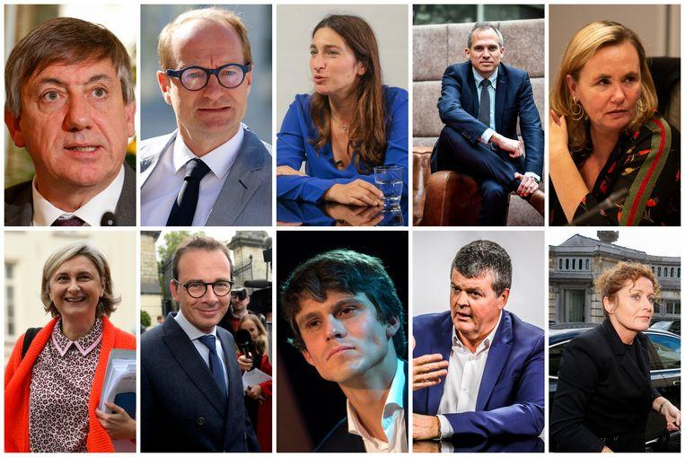 De nieuwe Vlaamse regering: vlnr. Jan Jambon, Ben Weyts, Zuhal Demir, Matthias Diependaele, parlementsvoorzitter Liesbeth Homans, Hilde Crevits, Wouter Beke, Benjamin Dalle, Bart Somers en Lydia Peeters.