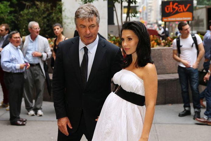 Acteur Alec Baldwin met zijn zwangere vrouw Hilaria.