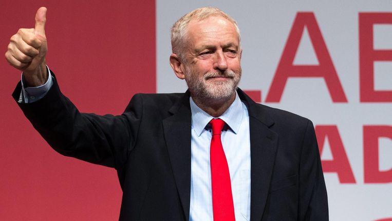 Jeremy Corbyn tijdens het partijcongres in Liverpool waar bekend werd dat hij het Labour partijleiderschap heeft gewonnen. Beeld afp