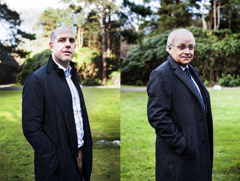 Gijs de Jong (links), directeur operationele zaken KNVB en Tjeerd Veenstra, voorzitter integriteitseenheid KNVB. Beeld Aurélie Geurts