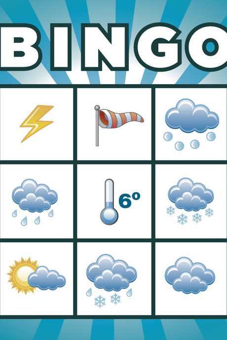 Hagel, onweer en windstoten: speel  Codegeel-weerbingo