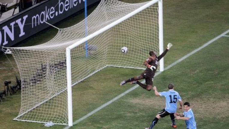 Uruguay scoort de gelijkmaker in de wedstrijd tegen Ghana. ANP Beeld