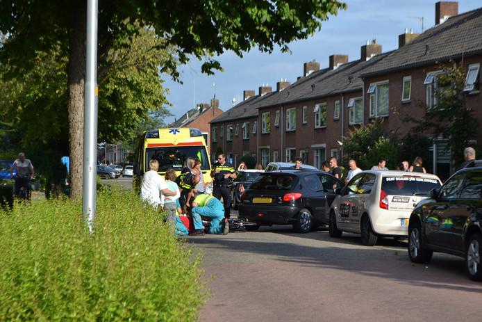 De ambulance ter plaatse bij het ongeval.