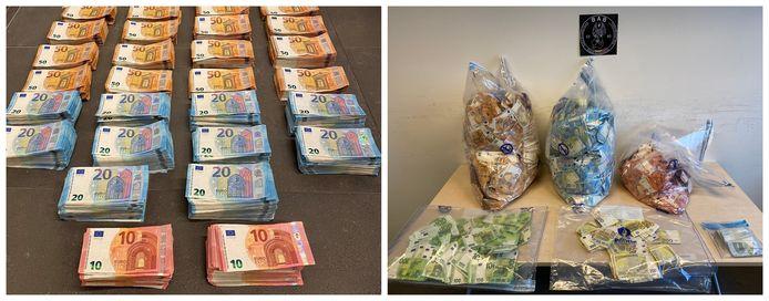 De politie heeft deze twee foto's van het in beslag genomen geld vrijgegeven.