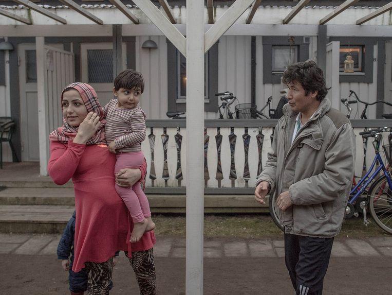 Afghaanse asielzoekers in een vakantieresort in het Zweedse Halmstad. Beeld Getty