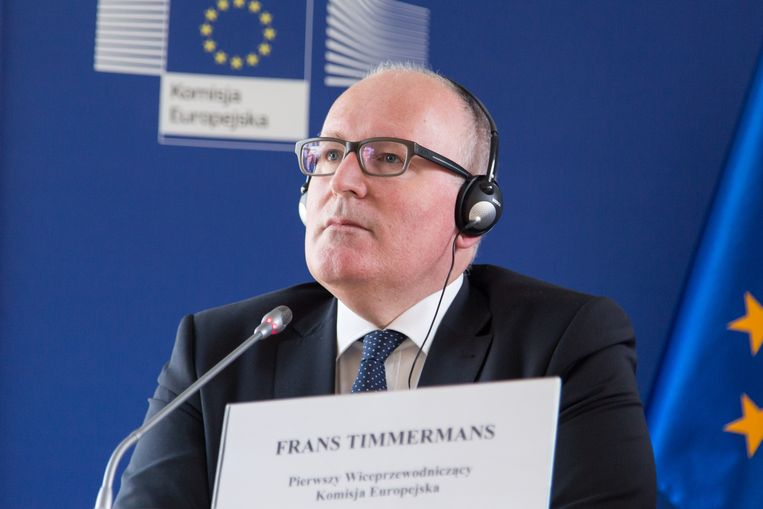 Vice-President of the European Commission Frans Timmermans during a press conference at the Delegation of the European Commission in Warsaw, Poland on 05 April 2016. (Photo by Mateusz Wlodarczyk/NurPhoto via Getty Images) Beeld NurPhoto via Getty Images