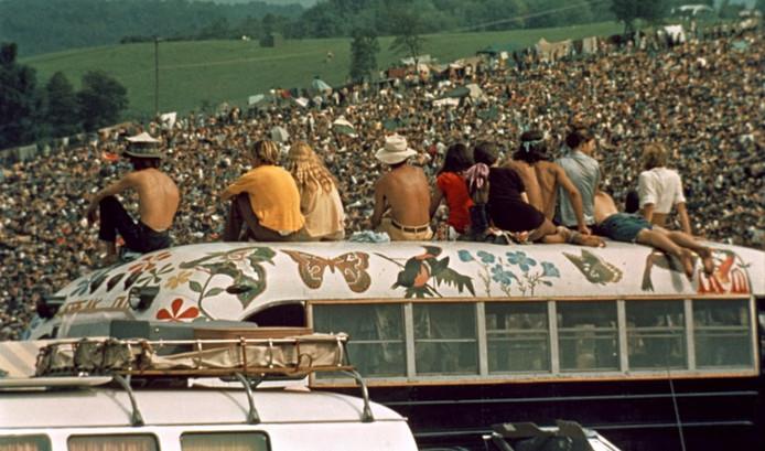 Beeld uit de muziekdocumentaire Woodstock, 3 days of peace and music