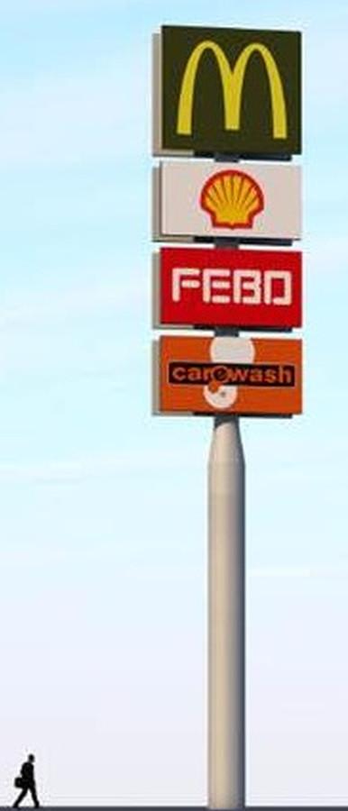 De reclamepaal zoals die langs de A15 op Park-15 moet komen.