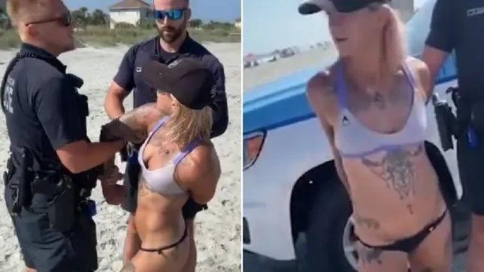 Sam Panda, arrêtée et menottée pour avoir porté un bikini string sur la plage de Myrtle Beach en Caroline du Sud.