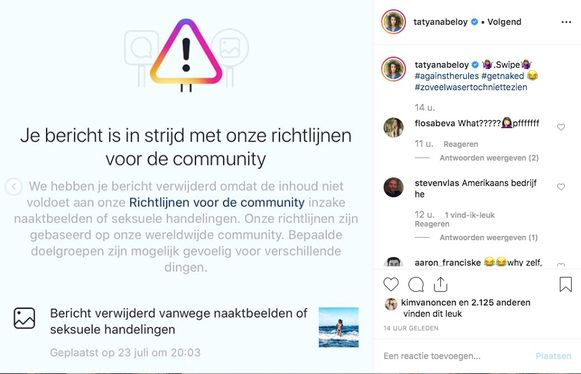 Tatyana Beloy gecensureerd door Instagram