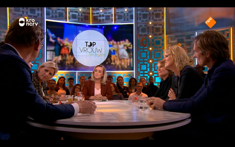 De drie genomineerden voor Topvrouw van het Jaar  vertelden hoe het nu is als topvrouw. Beeld KRO-NCRV