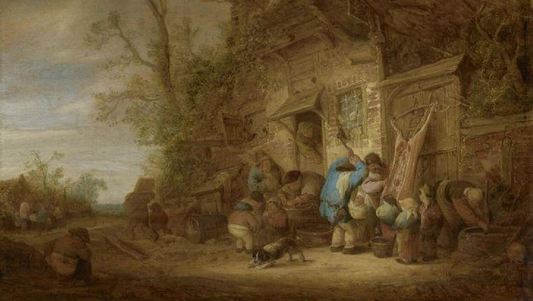 Boeren buiten een boerderij die een varken slachten uit 1641. Beeld Norton Simon Museum