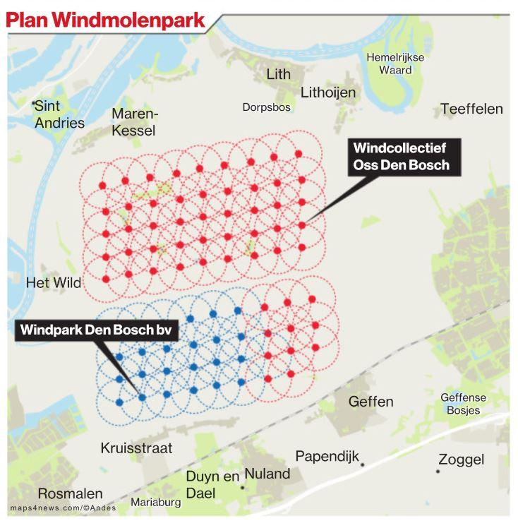 Hier is plaats voor windmolens tussen Den Bosch en Oss.