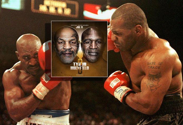 Evander Holyfield en Mike Tyson (rechts). Inzet: de poster voor het gevecht op 11 juli.