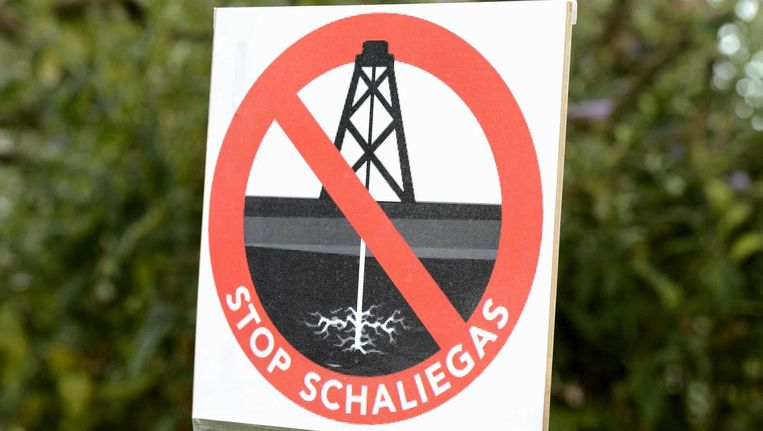 Een protestbord tegen schaliegas. Beeld anp