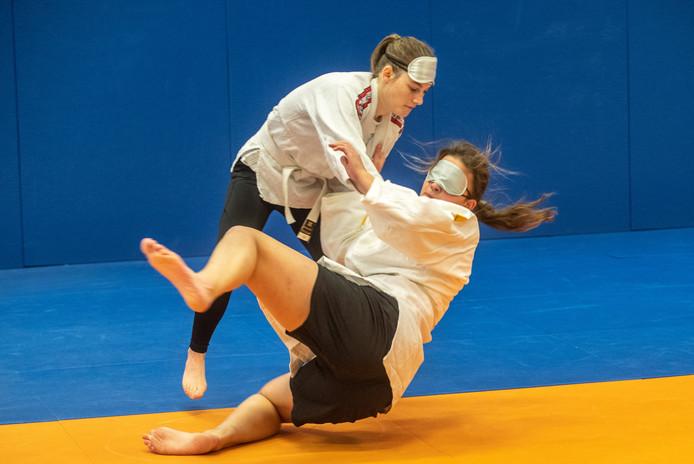 Geblinddoekt judoën tijdens de Paralympic Experience op hogeschool Windesheim.