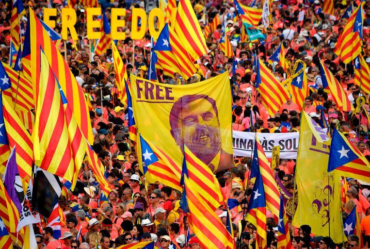 Junqueras (op de vlag) zit al sinds 2017 in de cel en werd in oktober tot 13 jaar veroordeeld voor zijn rol in het onafhankelijkheidsreferendum in Catalonië.