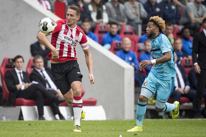 Luuk de Jong en Feyenoord-speler Tonny Vilhena.