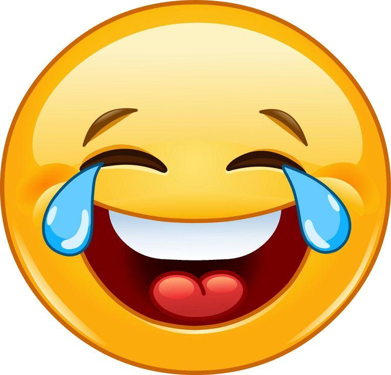 Een - in tranen van het lachen verkerende - emoji. Beeld