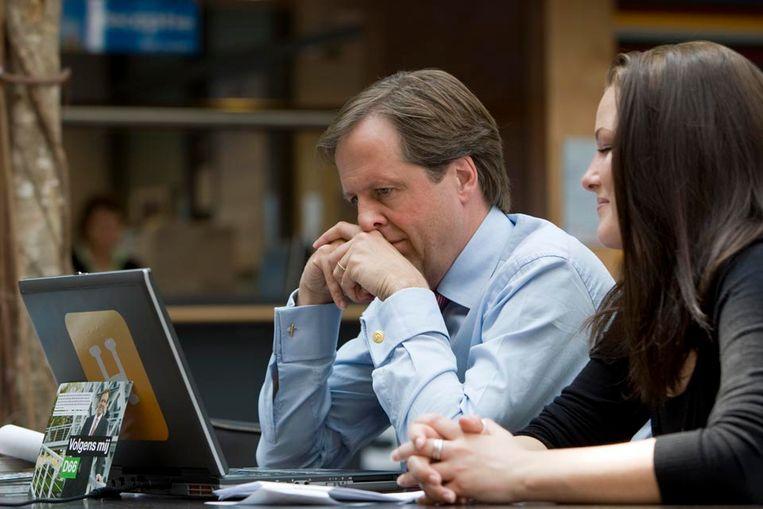 De leider van D66, Alexander Pechtold tijdens een verkiezingsdebat op Hyves (ANP) Beeld