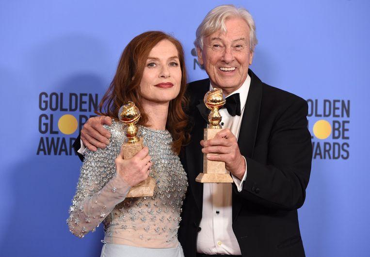 Met actrice Isabelle Huppert bij de Golden Globes in 2017. Beeld AFP