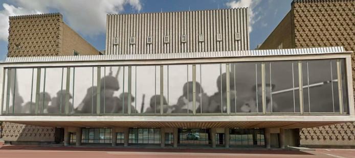 Impressie van de Slag om Arnhem-projecties die Arnhem Lights in september 2019 wil tonen in de Arnhemse binnenstad, bijvoorbeeld op het Huis der Provincie.
