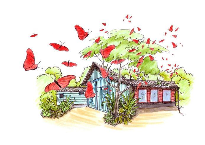 Vlinders zwermen om karakteristieke huisjes in de nieuw te bouwen mangrove in Burgers' Zoo.