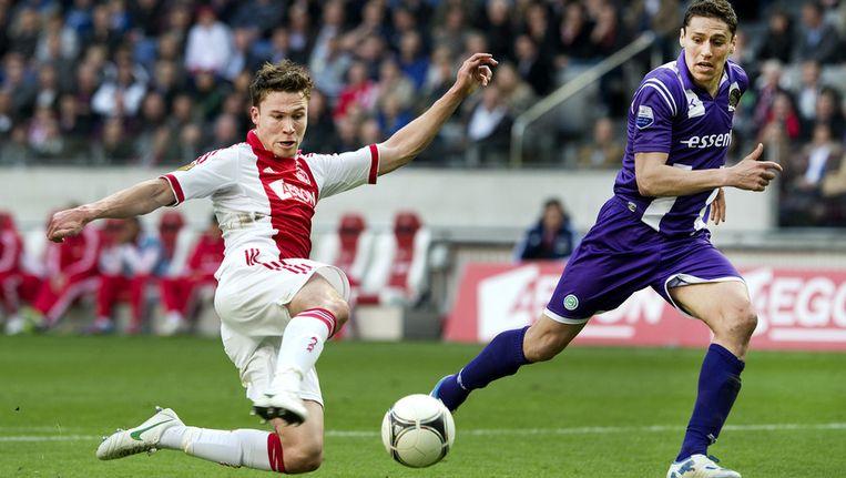 Derk Boerrigter (links) en Jonas Ivens van FC Groningen. Beeld ANP