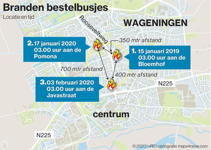 Een kaart van de branden in Wageningen.