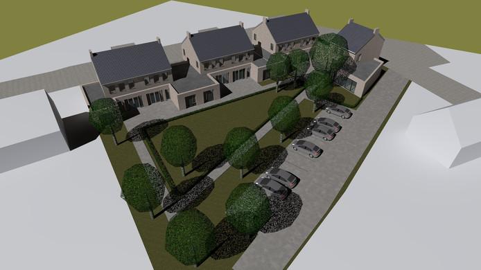 Impressie van het nieuwbouwplan voor Stiphout. Op de hoek van de Gasthuisstraat (boven) en de Venstraat (rechts) willen Adriaans Vastgoed en stichting KBWO 24 zorgwoningen voor dementerende ouderen bouwen.