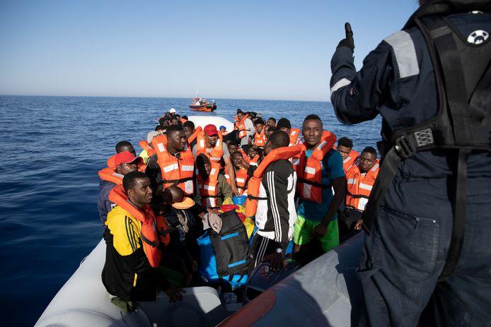 Een eerdere reddingsoperatie op de Middellandse Zee vanaf een schip van Sea Watch.
