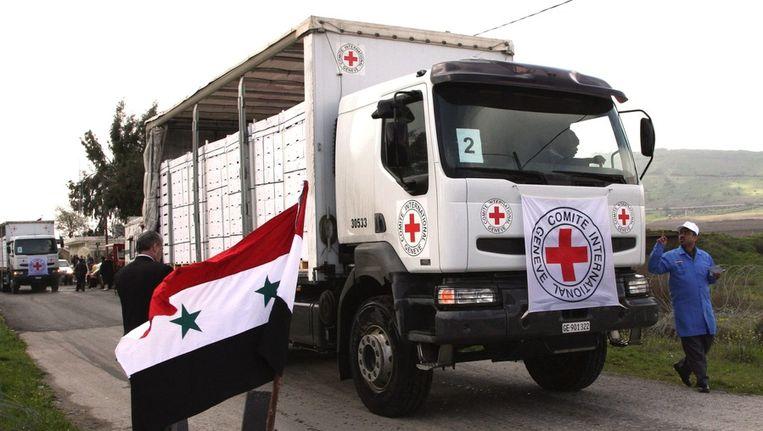 Rode Kruis convooi in Syrië. Beeld EPA