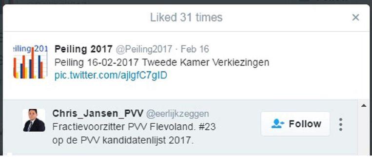 Fractievoorzitter van de PVV voor Flevoland Chris Janssen liket een bericht van Peiling 2017. Beeld null