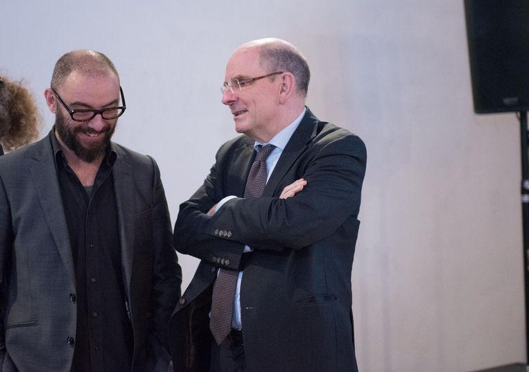 Regisseur Michael R. Roskam (links) en minister van Justitie Koen Geens.