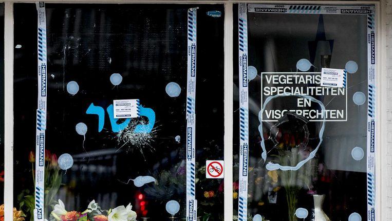 Exterieur van het Joodse restaurant HaCarmel, waar een ruit ingeslagen werd nadat president Trump Jeruzalem als hoofdstad van Israël had uitgeroepen. Beeld anp