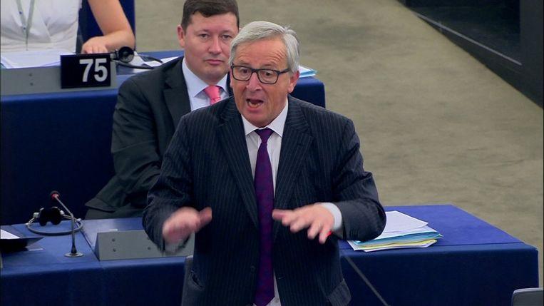 Juncker in het Europees parlement vandaag Beeld AP