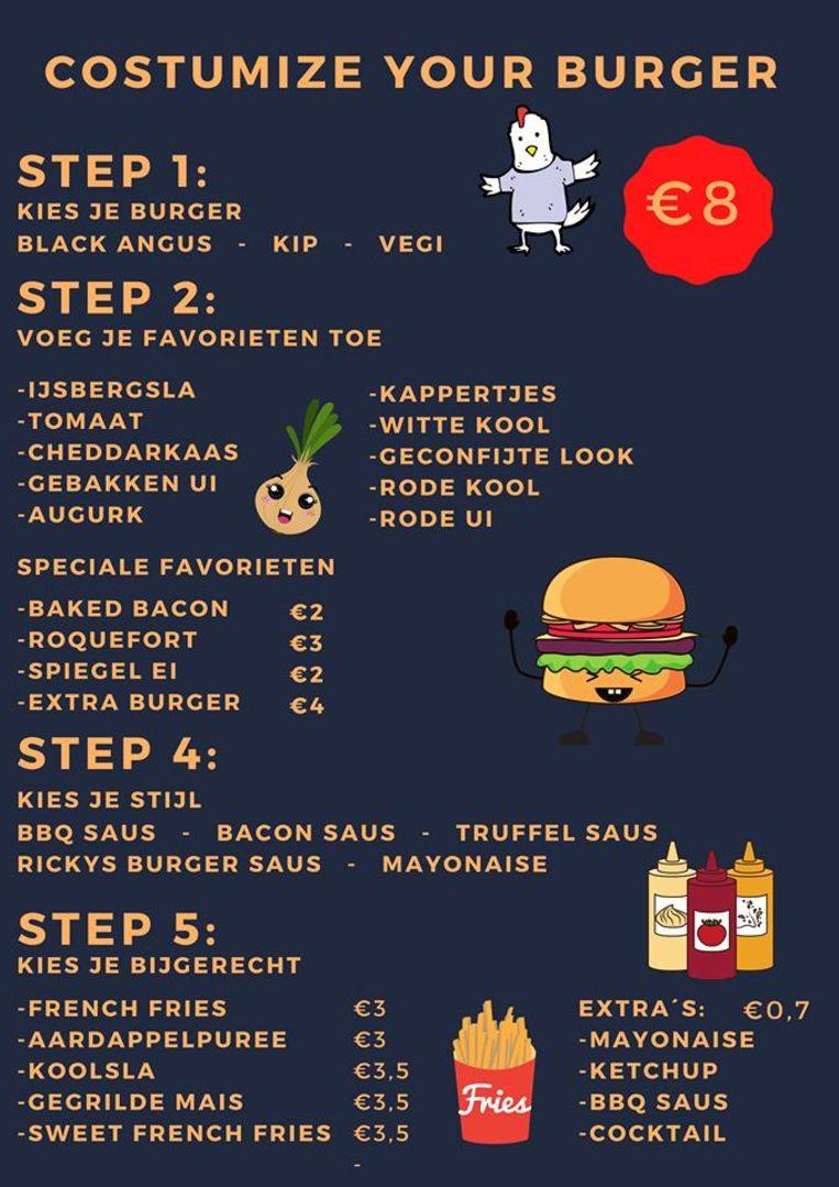 Het menu van Ricky's Burgers
