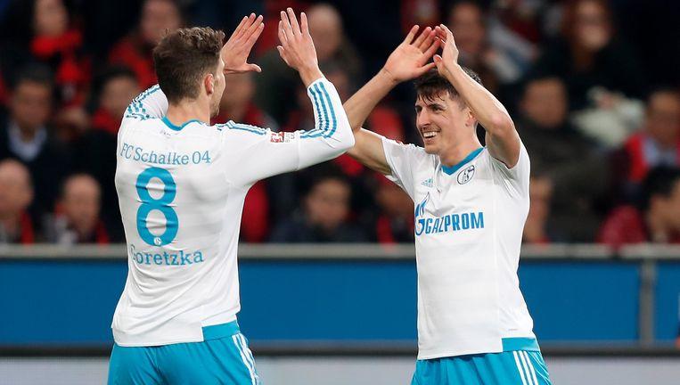 Alessandro Schöpf (rechts) scoorde tegen Leverkusen, maar viel daarna uit met een zware knieblessure.