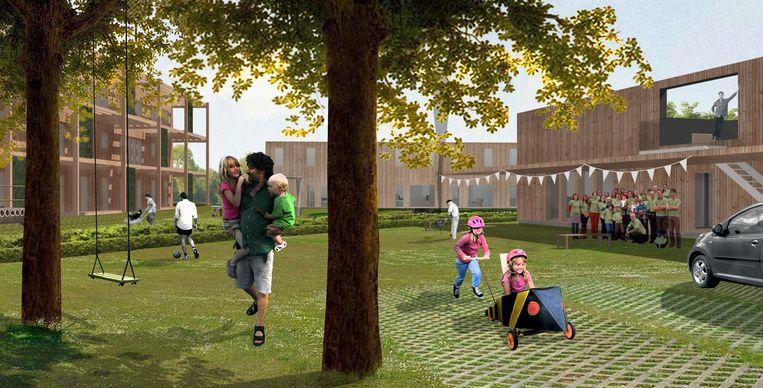 Een impressie van hoe het samenwoonproject in de Clementwijk eruit gaat zien: centraal een gemeenschappelijke tuin en een paviljoen, met daarrond 22 woningen.