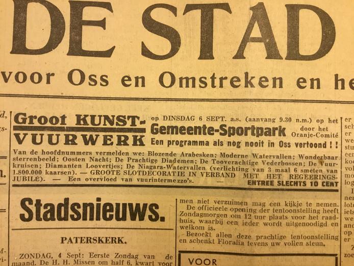 Advertentie voor een vuurwerkshow in 1938