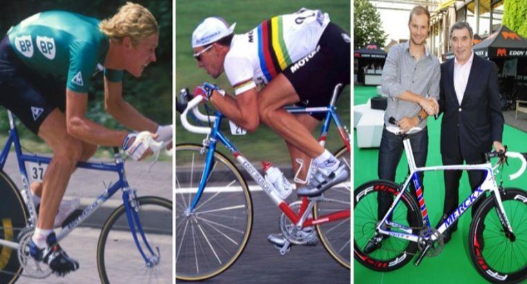 Eric Vanderaerden, Lance Armstrong en Tom Boonen reden onder andere met een Eddy Merckx-fiets.