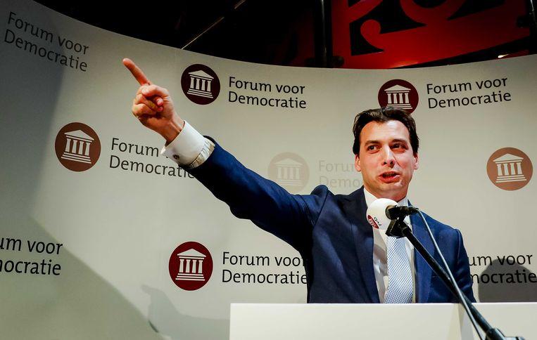 Lijsttrekker Thierry Baudet van Forum voor Democratie (FvD) tijdens de uitslagenavond van de Provinciale Statenverkiezingen en de waterschapsverkiezingen. Beeld ANP