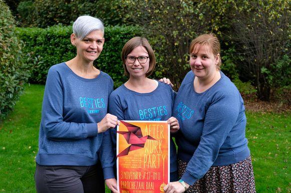 Inge Huybrechts, Sara Mertens en Katrien Mertens: beste vriendin, zus en nicht met een plus van Annelies. Samen ook 'Besties Forever'.