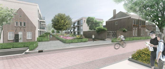 Impressie van de nieuwbouw aan de Pastoor van Erpstraat in Schijndel. Links de kopgevel van de Maria-Hoeve die behouden blijft.