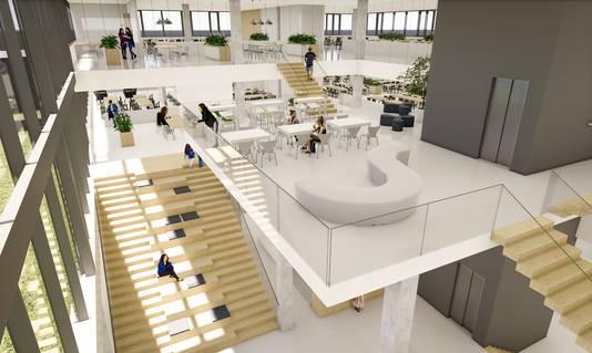 Zicht op de zogeheten vide in het nieuwe Almende College in Silvolde, die alle etages van het schoolgebouw met elkaar verbindt.