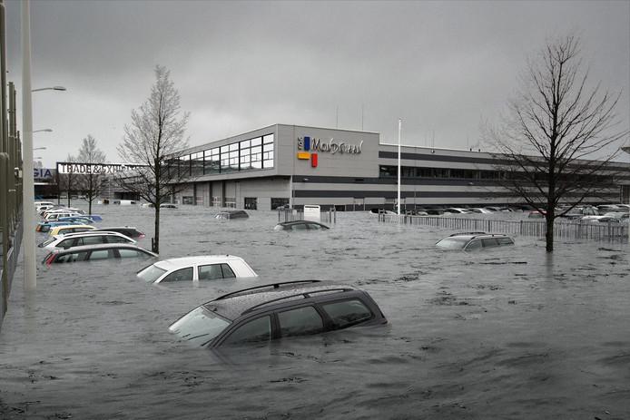 ROC Mondriaan Den Haag onder water!? Vakkanjers van mbo's, waaronder ROC Mondriaan, en bedrijven bedenken de komende maanden oplossingen voor wateroverlast. Fotobewerking: Timon Jacob.